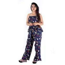Crepe Printed Women Navy Blue Wrap Pant Frill Top, Size: 18 x 12 x 18 cm