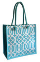 Printed Jute Bag With Dyed Handle