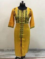 Yellow Printed Achkan Kurti