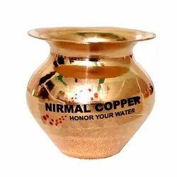 Plain Round Kumkuma Copper Pavitra Lota, Capacity: 150 Ml