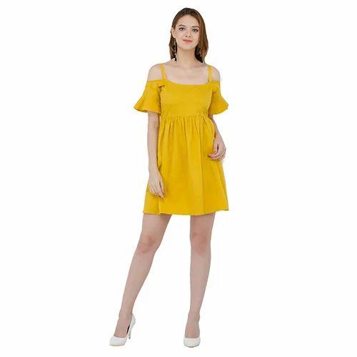 228a476eb9cf Cotton Plain Yellow Off Shoulder Short Dress