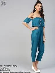 Off Shoulder Embroidered Teal Jumpsuit