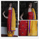 Red Embroidered Unstitched Salwar Suit