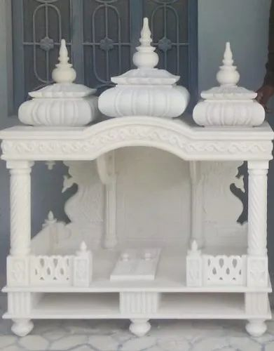 Handicrafted White Marble Temple, For Indoor,Home Hotel