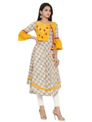Yash Gallery Women's Cotton Checks Print Applique Work Kurta