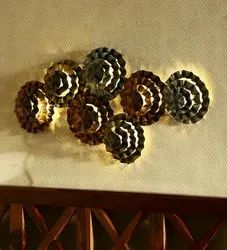Brown Wrought Iron Rimjhim Antique With Led Wall Art