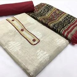 Rajnandini Beige Khadi Cotton Embroidered Unstitched Dress Material