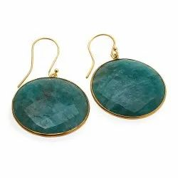 Big Round Gemstone Earrings