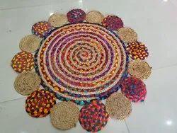 棉,黄麻编织美丽的设计黄麻欢迎地毯,为家,大小:36英寸