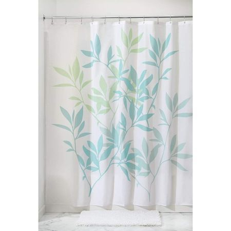 Interdesign Soft Blue And Green Leaves Shower Curtain 72 Inch By