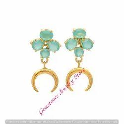 f4f95735f Pear Round & Oval 925 Aqua Chalcedony Gemstone Earring