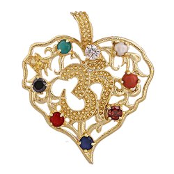 Navratan Gold Plated Pendant Om Shape Pan Shape