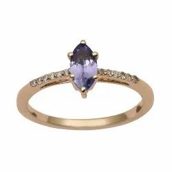 Solitaire Marquise Cut Tanzanite 9k Yellow Gold Diamond Accents Ring