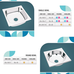 Stainless Steel Kitchen Sink, Packaging Type: Box, Size: Multi