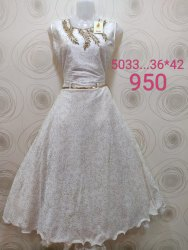 Party Wear White Designer Girls Long Frocks, Size: 36 to 42