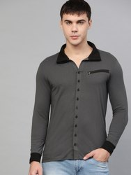 Knitted Plain Grey and Black Men's Shirt, Size: S to XXL