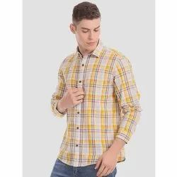 Checks Collar Neck Yellow Check Mens Shirt, Machine wash