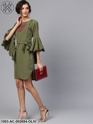 Embroidered Dress With Flare Sleeves