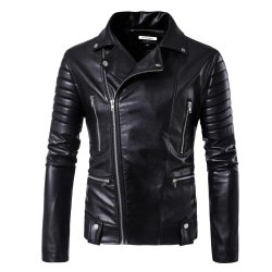 Black Casanova Leather Biker Jacket, Size: S-XXL