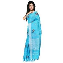 Party wear Ladies Sky Blue Embroidery Silk Saree with Blouse Piece, Length: 5.5 mm