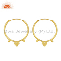 Designer Gold Plated 925 Silver Womens Bali Hoop Earrings