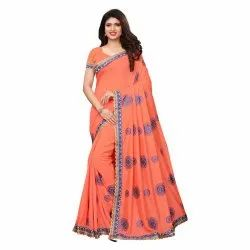 Peach Color Poly Silk Embroidered Casual Wear Saree