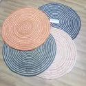 Indian Hand Braided Hemp Carpets Natural Fiber Round Rug