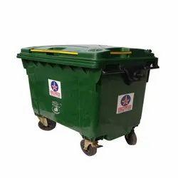Green Plastic 660 Ltr. Dustbin, Size: 1400 (w) X 780 (d) X 1200 (h)