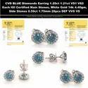 CVD Blue Diamonds Earrings 1.21ct 1.20ct VS1 VS2 IGI Certified 14k White Gold