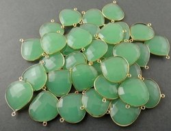 Attractive Pear Shape Green Chalcedony Checker Cut Gemstone Connectors