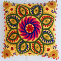 Cotton Suzani Embroidered Cushion Cover, Size: 16 X 16 Cm