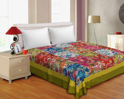 Multicolor Multicut Work Cotton Double Bedsheet