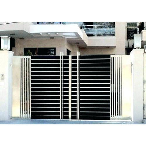 silver stainless steel modern house main gate rs 340 kilogram id rh indiamart com modern house gates and fences designs modern house gates and fences designs