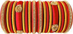 Red And Golden Designer Silk Thread Bangle Set