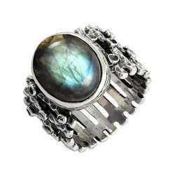 Blue Shine 925 Sterling Silver Labradorite Ring