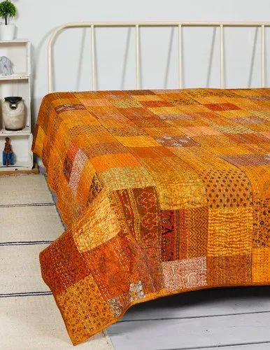 Patchwork Silk Double Kantha Quilt