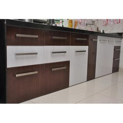 White And Brown Rectangular Wooden Kitchen Cabinet