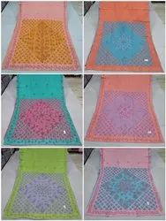 Multicolor Casual Wear Cotton Saree With Embroidery, 6.3 m (with blouse piece)