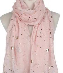 Islamic Hijab Scarf Gold Foil - Baby Pink