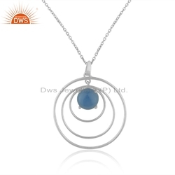 925 Sterling Fine Silver Blue Chalcedony Gemstone Circle Design Chain Pendant