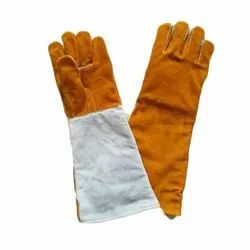Tan and White Welding Leather Hand Gloves 16, For Industrial, Size: 14-18 Inch