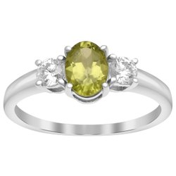 Solitaire Cut 1.50 Ctw Peridot Gemstone Accents 925 Sterling Silver Promise Ring