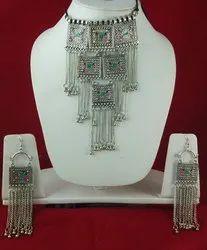 Nk Handmade Meena Chocker Set Oxidized Silver Multi