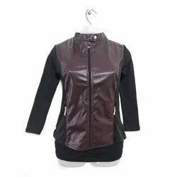 Full Sleeve Party Wear Ladies Leather Jacket, Size: L-XXL