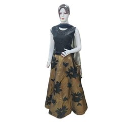 Party Wear Sleeveless Ladies Black Satin Silk Lehenga Choli, Size: S-XXL