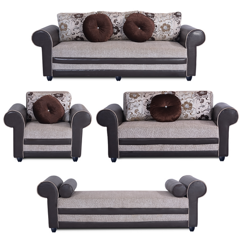 Bharat Lifestyle Alex Leatherette And Fabric Diwan Sofa Set