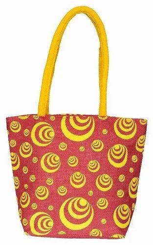 Long Handle Printed Jute Handbag, Capacity: 5 Kg