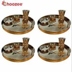 Choozee - Copper Thali Set of 4 (20 Pcs) Thali, Bowl, Spoon & Matka Glass