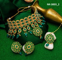 Alloy Gold,Green Choker Traditional Necklace for Women, Box, Occasion: Party