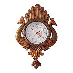 Wooden Look Peacock Pair Wall Clock Decorative Gift Item